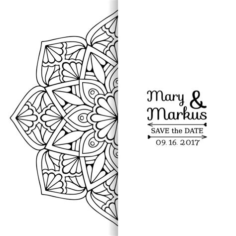 imagenes en blanco y negro de mandalas tarjeta de boda con un mandala floral blanco y negro