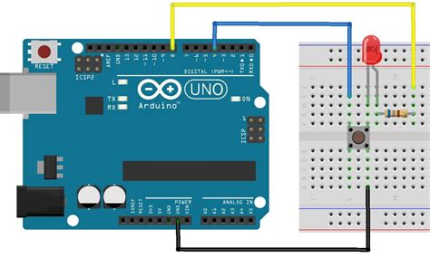 arduino digital pin pull up resistor using push button switch with arduino uno