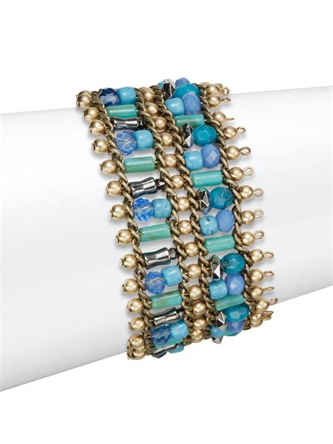 beaded chain bracelet saks fifth avenue beaded chain bracelet in blue lyst