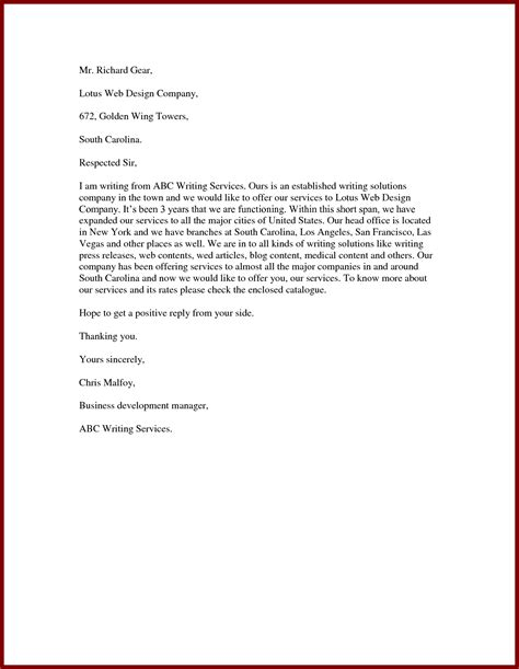 Service Offering Letter business letter offering services the letter sle