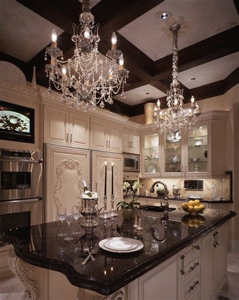 Love the idea of chandeliers in the kitchen beth whitlinger glam kitchen quot kitchens