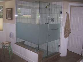 frosted shower glass on frosted glass shower