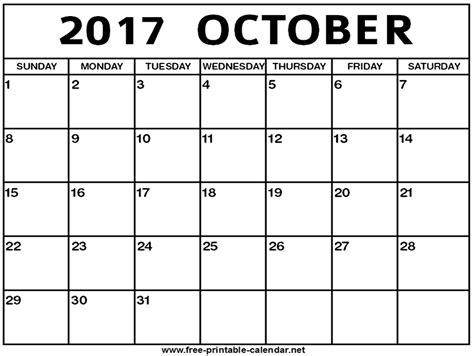 Calendar 2017 October Free Printable Calendar 2017 Free October