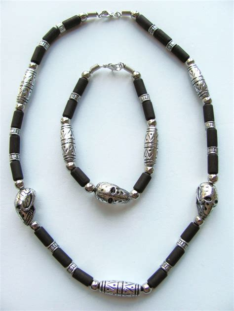 mens bead necklaces silver skull two tone surfer beaded necklace bracelet