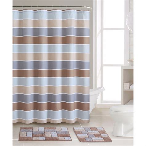 Striped Shower Curtain Bath Rug Mat Set Cotton Curtains Bathroom Shower Curtain And Rug Sets