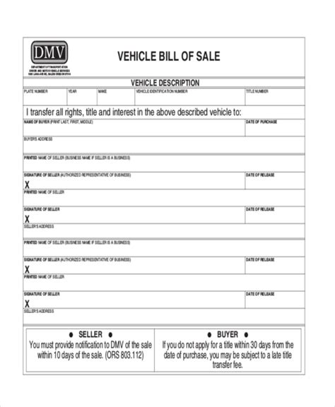 bill of sale dmv sle dmv bill of sale forms 8 free documents in pdf
