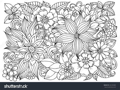anti stress colouring book doodle and vector coloring page floral pattern doodle stock vector