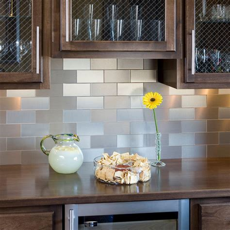 kitchen backsplash peel and stick tiles aspect 3 in x 6 in chagne grain decorative wall tile 8 pack a51 51 the home depot