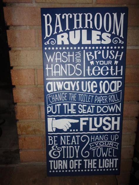 navy bathroom sign home decor signbathroom rules hand