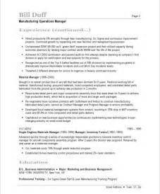 resume format exles for steel fabrication manufacturing manager resume sles exles