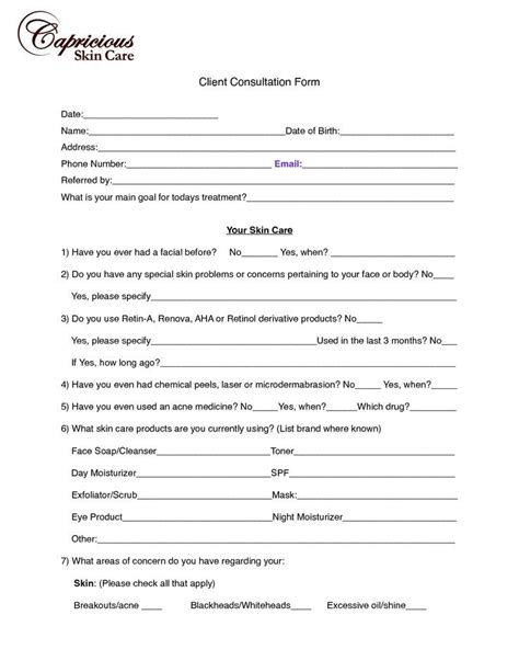 client consultation form template 25 best ideas about esthetician room on
