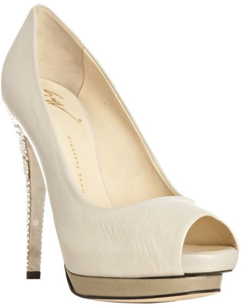 bone colored heels giuseppe zanotti bone leather jeweled heel peep toe
