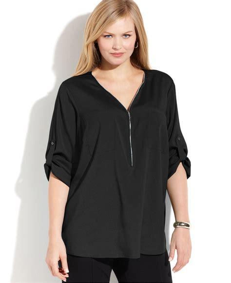 Blouse Zipper Black Hitam Lyst Calvin Klein Plus Size Roll Tab Sleeve Zip Front