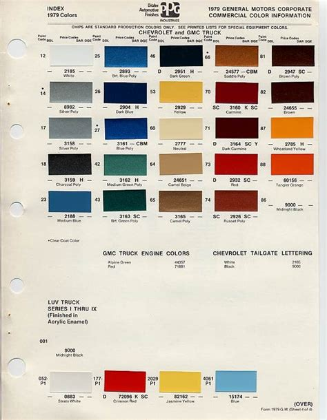 gm auto color chips color chip selection auto paint colors codes colors