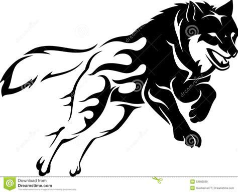 springen von wolf flame vektor abbildung bild 53603039