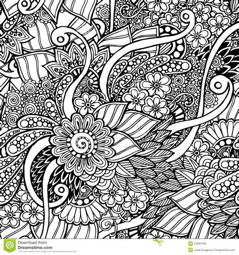 Tribal Pattern Doodles | seamless floral retro doodle black and white stock vector