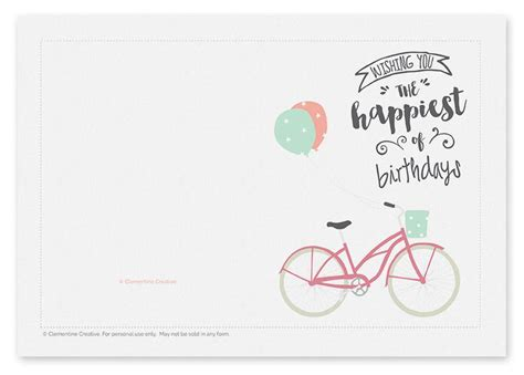 printable birthday cards printable birthday card bicycle with balloons
