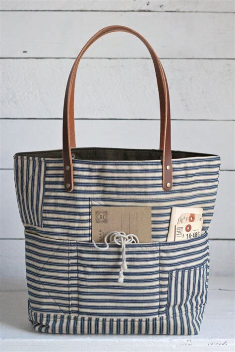 All For Fabric Totes And Fabric Totes For All by 1940 S Era Ticking Fabric Tote Bag Forestbound