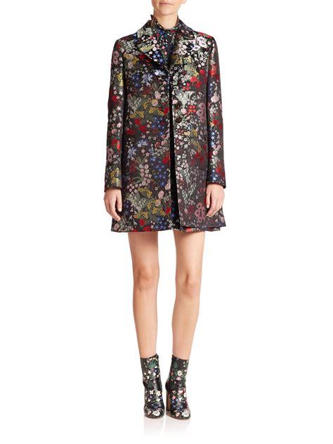 Jacket Silk Floral Bordir valentino floral print silk brocade jacket in metallic lyst
