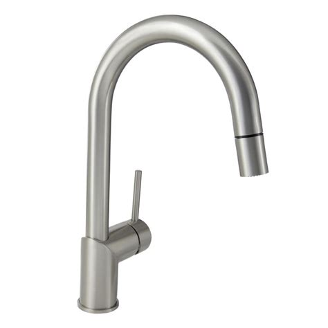 mirabelle mirxcra100ss stainless steel ravenel pullout spray kitchen faucet with high arch