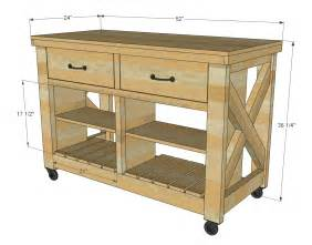 Ana white rustic x kitchen island double diy projects