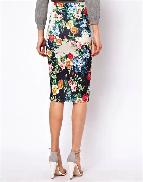 asos asos exclusive pencil skirt in floral