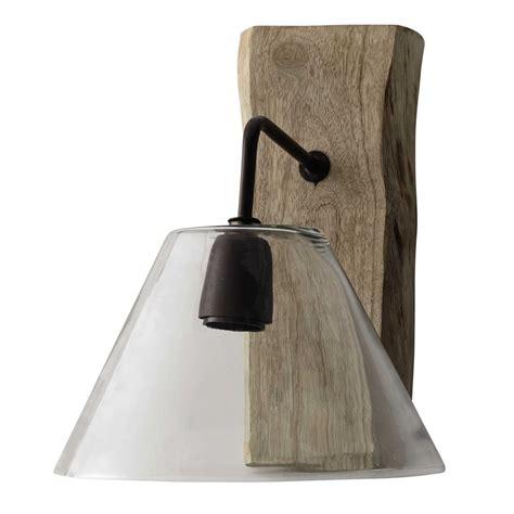 applique in vetro applique in vetro e legno h 32 cm chalet maisons du monde