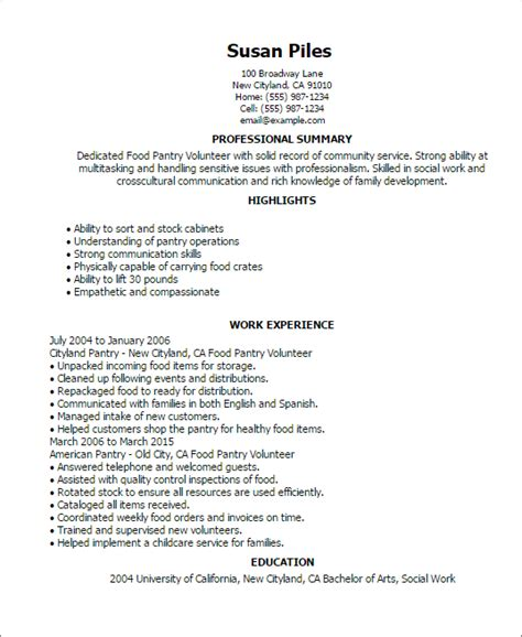 professional food pantry volunteer templates to showcase your talent myperfectresume