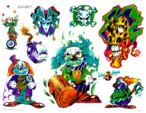 colored clown colored scary clown tattoos designs