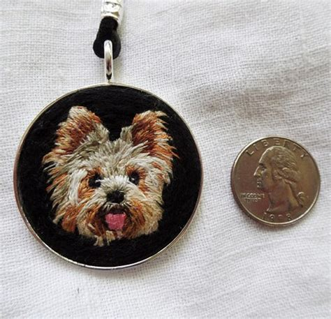 yorkie necklace yorkie necklace handmade jewelry for kathyhalperartembroidery on artfire
