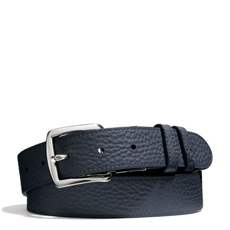 couch belts coach bleecker pebbled leather reversible belt in blue for