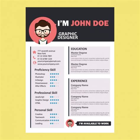 Design Resume Sample by Coloured Curriculum Design Vector Free Download