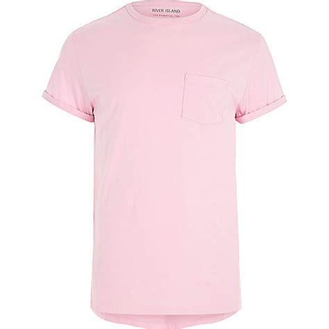 Light Pink Sleeve Shirt by Light Pink Chest Pocket Roll Sleeve T Shirt Plain T