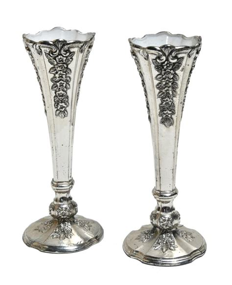 1977 small silver plated vases from elvis s gracelan