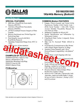 maxim integrated products ibutton ds1993 datasheet pdf maxim integrated products