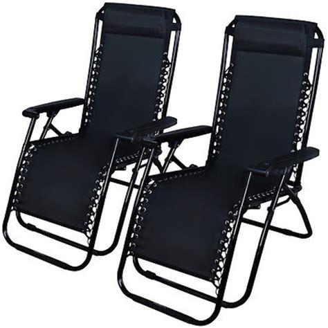 Zero Gravity Chairs Case Of 2 Black Lounge Patio Chairs Zero Gravity Patio Chairs