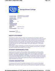 George Brown Course Outlines by Sequence Of Continued Evidence Of Learning Wee K Intended Learning