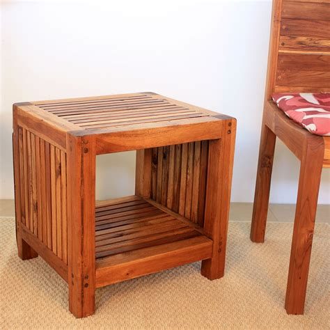 teak wood end table end table or stand with shelf teak indoor out door