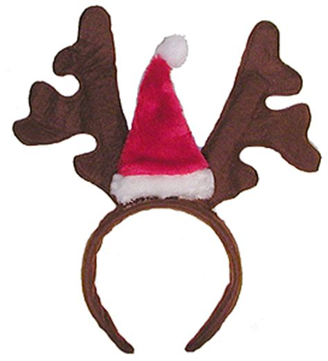 reindeer headband with santa hat antlers