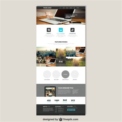 free homepage template business website template vector free