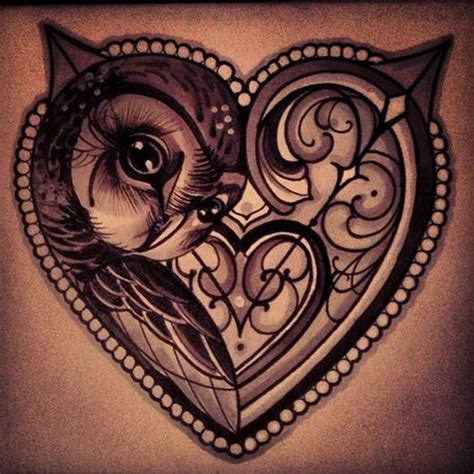 cool heart tattoos cool owl design tattoos ink i would