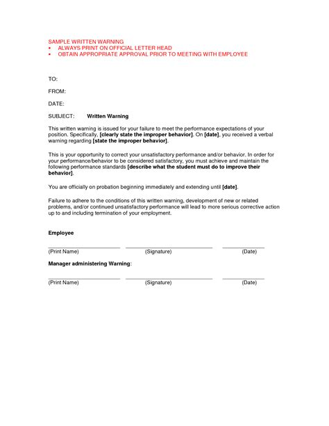 best photos of written warning letter template written