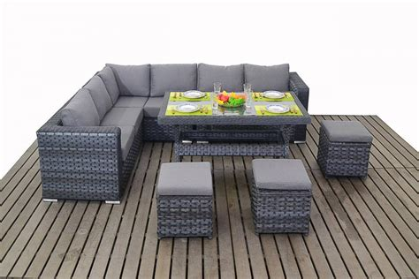 Dining Table And Sofa Set Platinum Grey Rattan Corner Sofa With Dining Table Homegenies