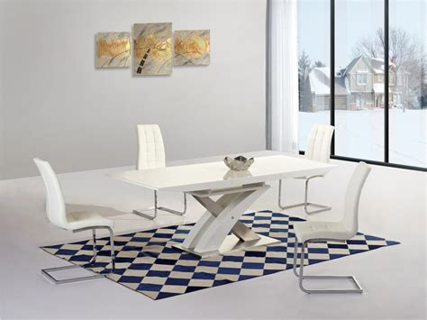 White Extending Gloss Dining Table And 6 Chairs Homegenies White Chairs For Dining Table