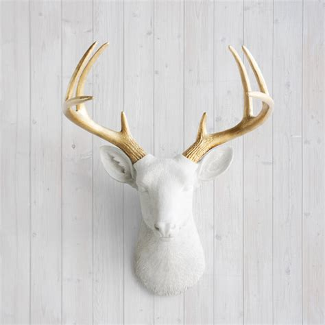 White Deer Wall Decor by White Gold Antlers Faux Deer Decor By Wall Charmers