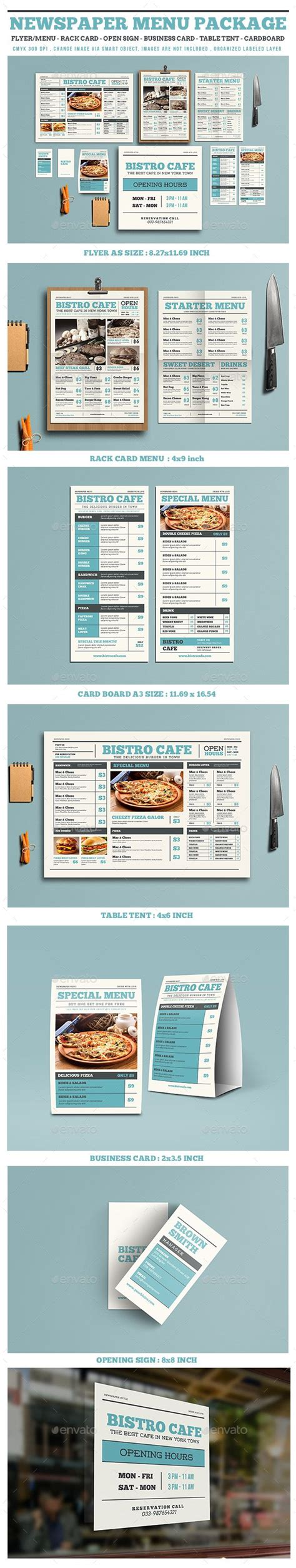 menu template illustrator newspaper style menu package menu printing ai