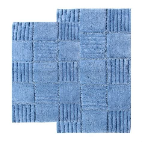 Blue Bathroom Rug Sets 2 Checkerboard Bath Rug Set In Smoke Blue Uvcm14569