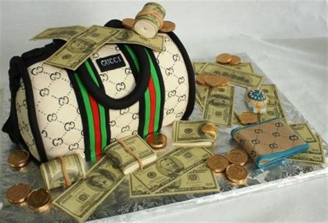 gucci duffel moneybag birthday cake with rolex watch and w