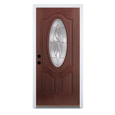Therma Doors by Shop Therma Tru Benchmark Doors Varissa Right Inswing Mahogany Stained Fiberglass
