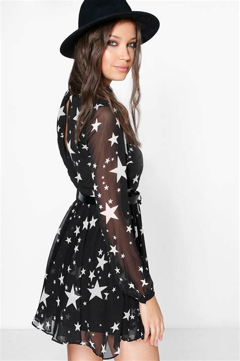 Basic Dress Syar I by Boohoo Stela Print Wrap Skater Dress Ebay